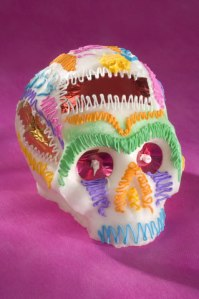 Sugar Skull with Foil Name Tag